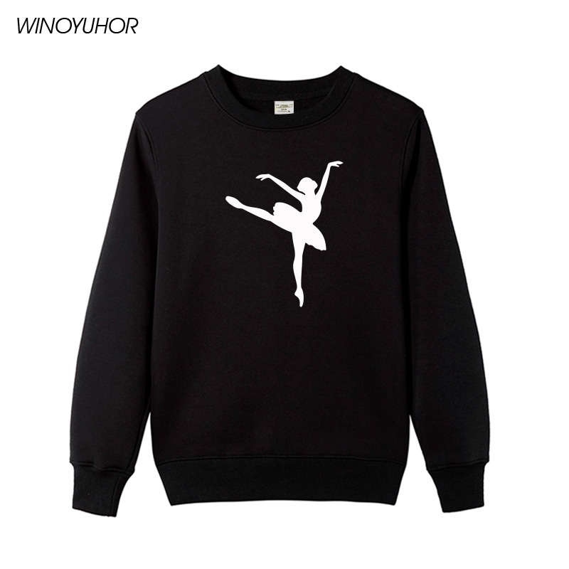 2018 New Winter Women Hoodies Ballet Dancer Printed Sweatshirts Casual Tops Female Novelty Pullover Cute Girl Tracksuits