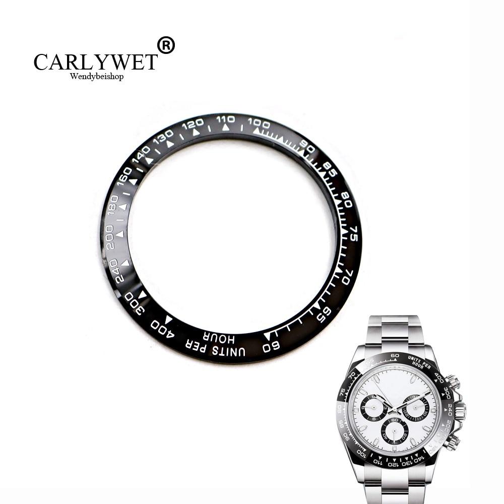 "CARLYWET סיטונאי באיכות גבוהה קרמיקה שחור עם לבן לבן 38.6 מ""מ לוח שעונים לדייטון 116500 - 116520"