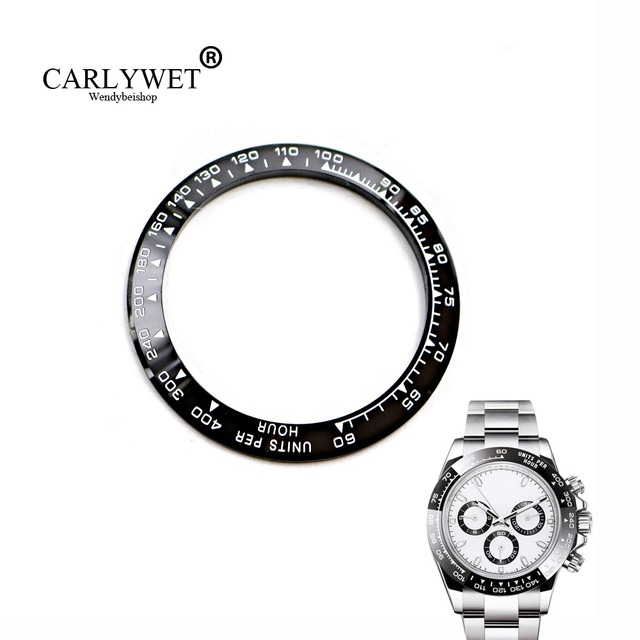 CARLYWET Wholesale High Quality Ceramic Black with White Writing 38.6mm Watch Be