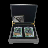 Silver Series Poker Aussie Style Plastic Poker with Wooden Box and Gold Certificate Premium Gifts Personalized Gift