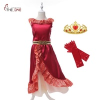 MUABABY Elena Of Avalor Summer Princess Dresses Girls Sleeveless Ruffles Cosplay Costume Children Kids Prom Party
