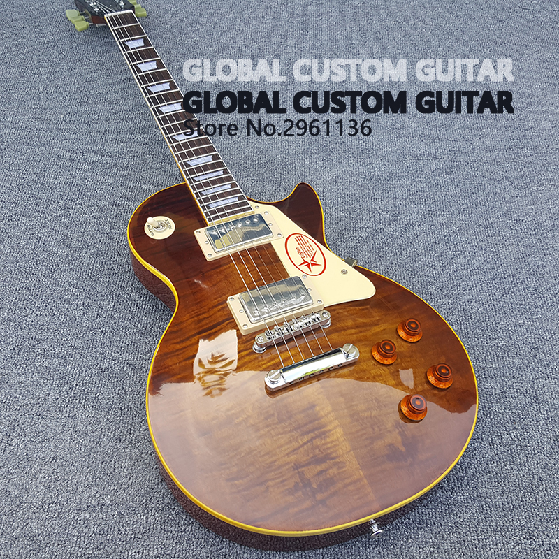 2017 New One piece Neck les Electric guitar, LP 1959 R9 Tiger Flame with Chrome hardware,  LP standard guitar,Free shipping HOT! musical instruments wholesale gbson standard les sunburst for paul lp electric guitar chinese tiger stripes free shipping