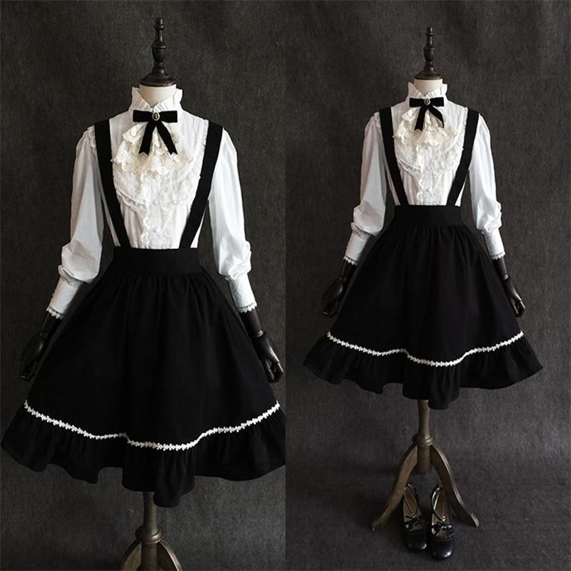 Sweet Lolita Artistic Japanese Vintage Gothic Suspender Skirt Cute Mori Girl Princess Women's Big Hem Black Bust Skirt