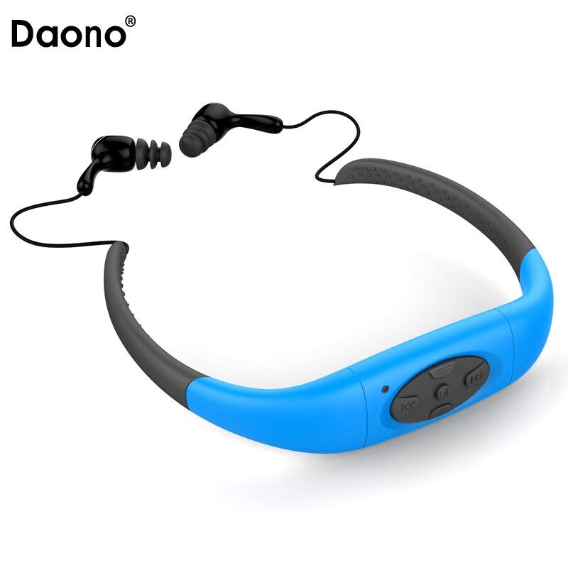 Daono IPX8 Водонепроницаемый 8 ГБ подводный Спорт MP3 плеера шейным стерео наушники гарнитуры с FM для дайвинга Одежда заплыва