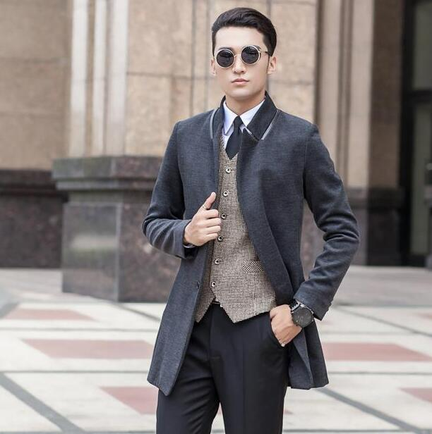 Black grey long sleeve Medium-long wool coat men jackets and coats mens slim wool winter single breasted trench coats S - 9XL