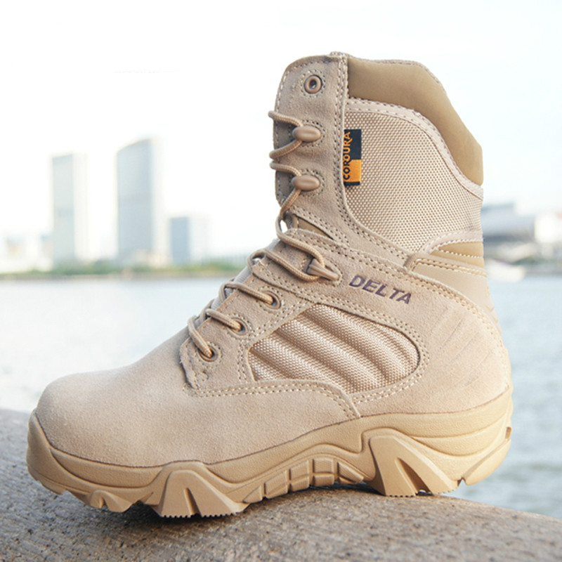 Hiver automne hommes bottes militaires Delta Force spéciale tactique désert Combat cheville bateaux armée travail chaussures en cuir neige botte mâle
