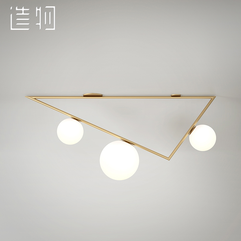 Designer chandeliers creation magic beans lamp postmodern golden triangle geometry droplight Nordic single window
