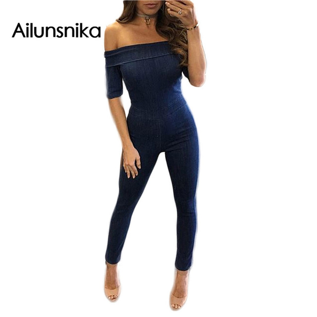 Ailunsnika new arrival hot sales 2017 spring Sexy one-neck short-sleeved jeans with back zip jumpsuit woman novel denim CM9665