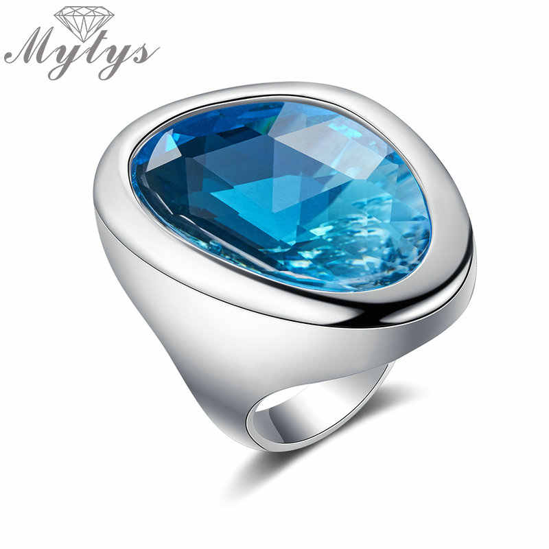 Mytys Clear Ocean Blue Ring for Women Fashion Cocktail Ring Statement Jewelry Silver Color Big Glass Stone Ring R2133