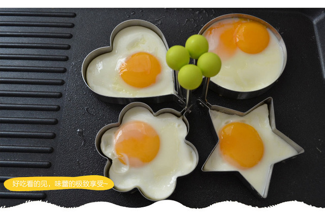 New 5 shapes Stainless steel form for frying eggs tools omelette mould device egg/pancake ring egg shaped kitchen appliances