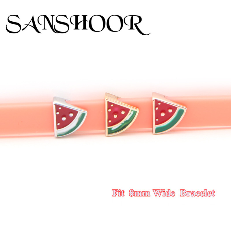 SANSHOOR Jewelry  Cool Watermelon Slide Charms fit 8mm Wide Mesh Leather Wrap Bracelet Wristband for kids/girls