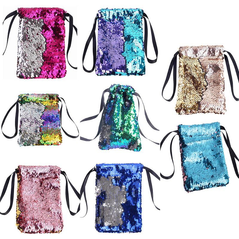 Unisex Sequins Drawstring Wallet Small Pouch Bag Coin Purses Card Holder Fashion Bags