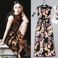 高品質2018夏中国風チャイナ緩いタイプ印刷ノースリーブオープンフォークで弓ネクタイ女性ドレス送料無料