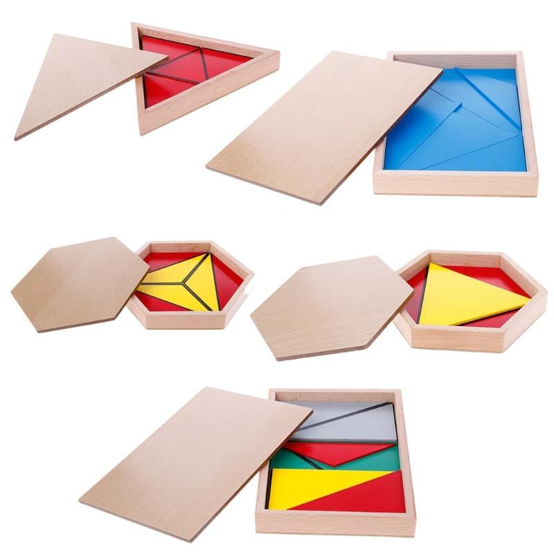 montessori brinquedo material de madeira triangulos construtivos retangulares pentagono