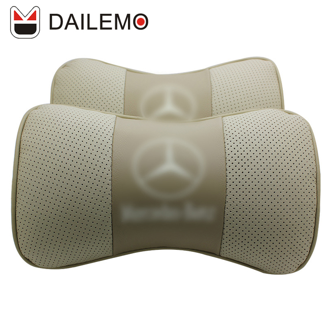 DAILEMO Gold Cotton Leather Car Headrest 2Pcs/ Seat Neck Support Car Seat Cover Cushion Cover For Mercedes-Benz C/E/GLE/GLA