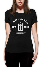 New 2016 Funny Short Sleeve Top O-Neck Womens Doctor 50 Anniversary Who Call The Dr Phone Booth Geek Space 1962 T Shirt