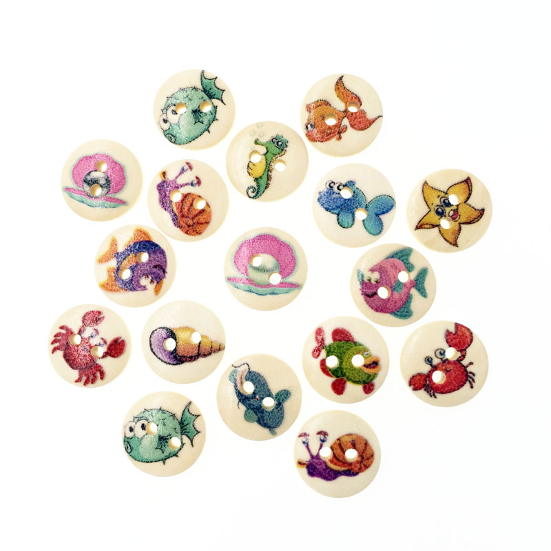 100pcs sea fish wooden buttons for clothing scrapbooking for Decorative pins for crafts