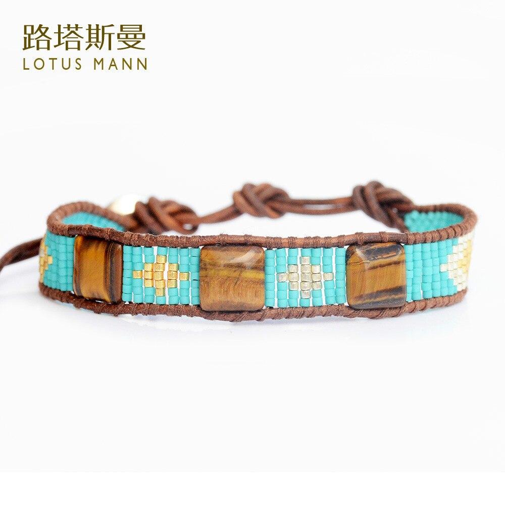Лотос манн природный тигровый глаз камень и камень бусины написание цветок синий m круг коричневый цвет кожаный шнур браслет