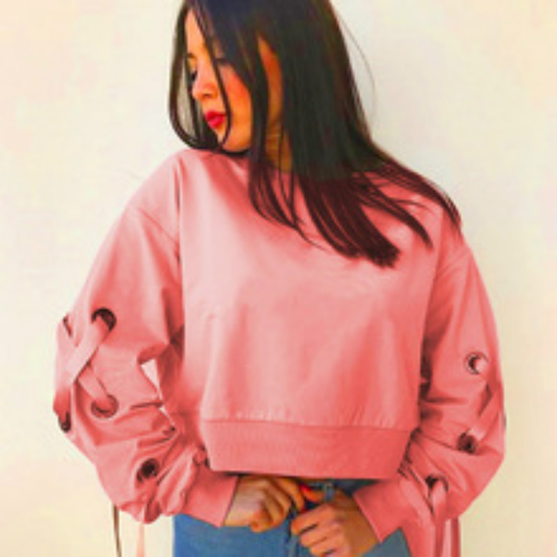 Lace Up Hole Hoodies Women Plus Size Long Sleeve Design Sweatshirts Solid Crop Tops Harajuku O-Neck Pullovers Female Pink ...