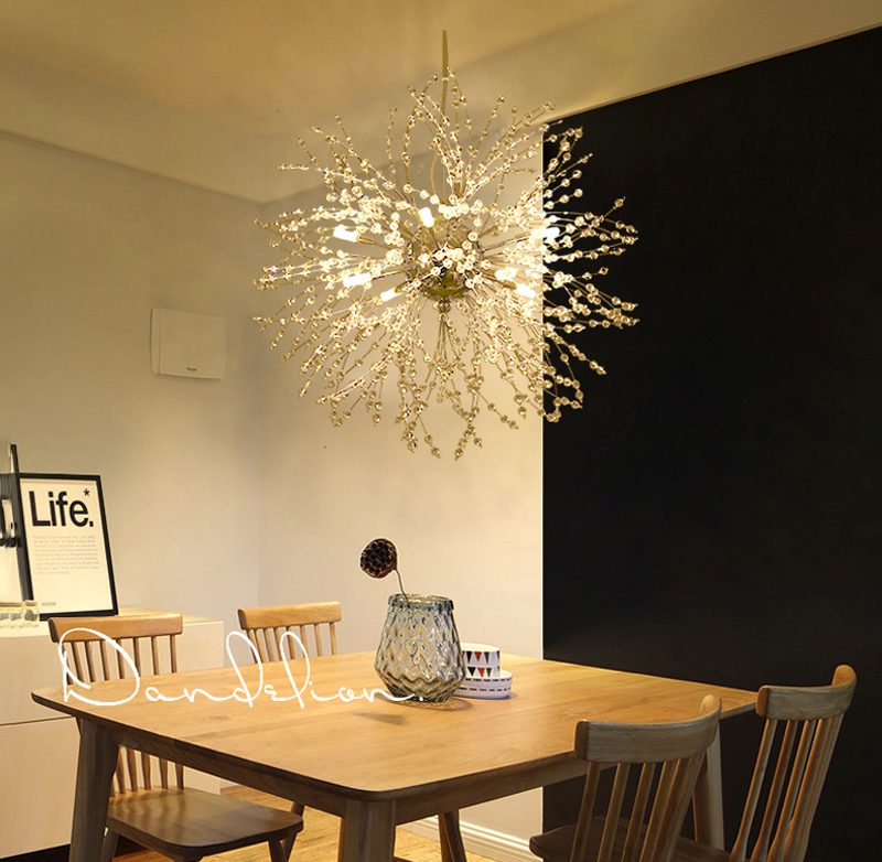 Nordic 110V-240V Crystal Dandelion Pendant Lamp Personalized Luxury Romantic Pendant Lights Creative Chandelier For Living Room Restaurant (3)