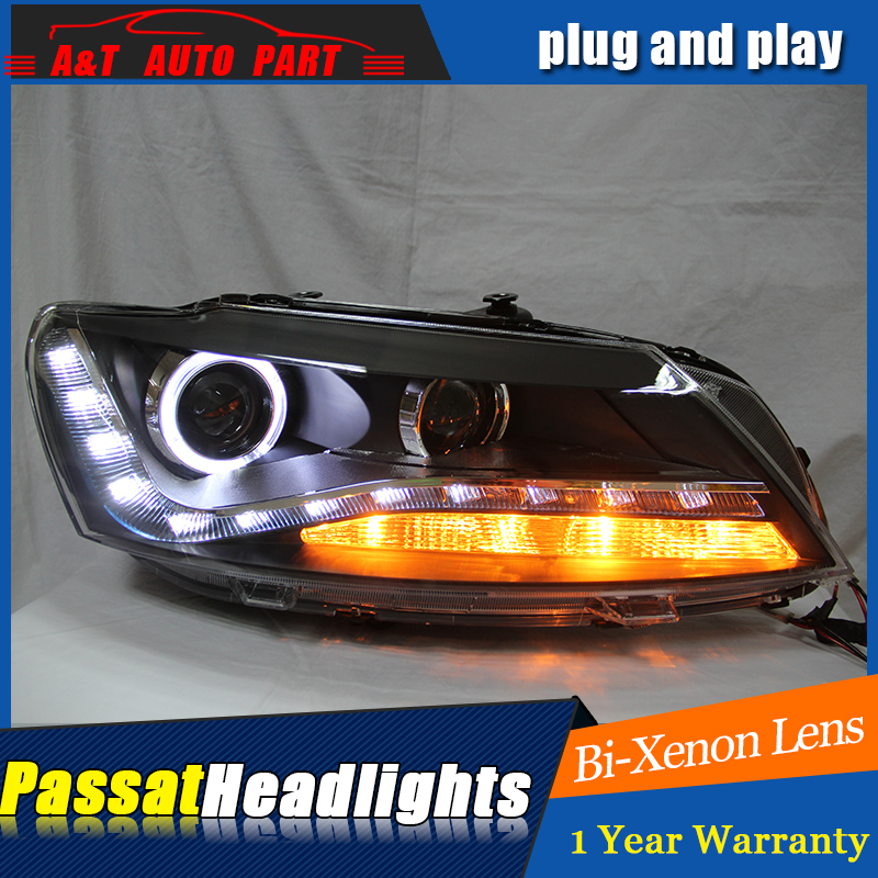 AUTO.PRO 2011 For vw passat b7 headlights parking bi xenon lens LED DRL H7 xenon For vw passat HEAD LAMPS car styling