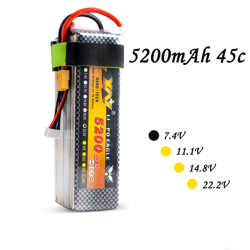 High Quality RC Battery 7.4V 5200mAh 35C 2S 7.4Volt RC LiPo Li-Poly Battery for Helicopters Quadcopter RC drone kit 2pcs high quality 4s full 5400mah 14 8v 79 92wh replacement lipo battery for yuneec typhoon h drone rc quadcopter