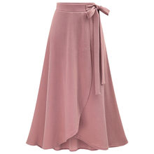 Fashion Summer Women Ladies High Waist Skirt Female Solid pleated Irregular Split Bandage Bow Tie Elegant Long Skirt Oversized(China)