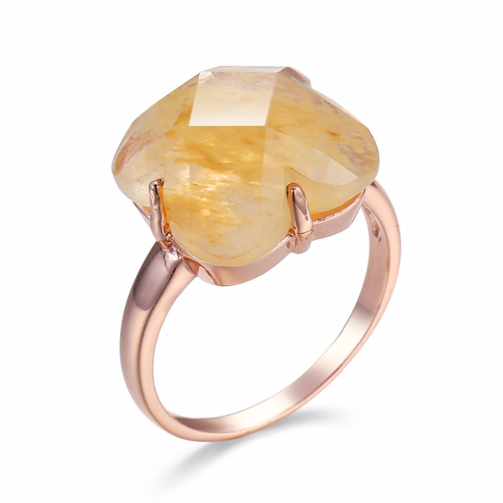 Vintage Rose Gold color Rings for Women Big Light Brown Color CZ Zirconia Wedding Party Fashion Jewelry