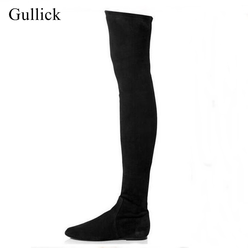 Big Size 10 Hot Selling Black Suede Leather Round Toe Over The Knee Boots Elastic Stretch Thigh High Flat Long Boots Woman black stretch fabric suede over the knee open toe knit boots cut out heel thigh high boots in beige knit elastic sock long boots