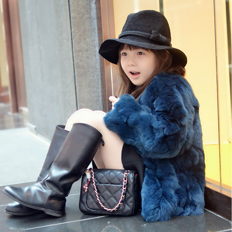 Top quality!Princess coat 2015 Girls Fall and Winter Coat Child Thick Plush Fur Coat Kids Really 100% Rabbit Fur Grass Coat