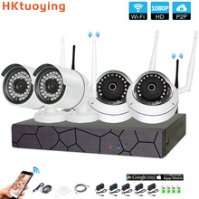 4CH CCTV System Wireless 1080P NVR 4PCS 2.0MP IR Outdoor indoor P2P Wifi IP CCTV Security Camera System Surveillance Kit цены онлайн