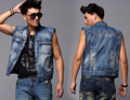 Free Shipping Men's Denim Vest Male Sleeveless Fashing Outerwear Slim Cowboy Jacket Clothing Spring And Summer