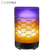 COOSA Essential Oil Diffuser 100ml Handmade Glass & Iron Ultrasonic Air Humidifier 7 Colors LED Light for Home Bedroom