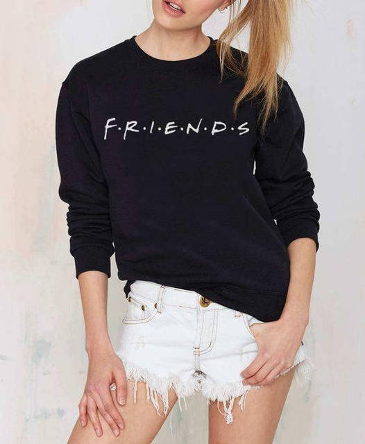 c0c345387 Aesthetic Casual Long Sleeve Spring O-Neck Sweatshirt Friends Graphic  Letter Crewneck Best Friends Hipster