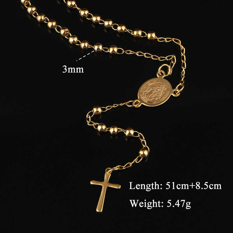 olowu Antique Jesus Cross Beads Necklace Silver Color Stainless Steel Long Necklace Religious Christian Rosary Jewelry For Women