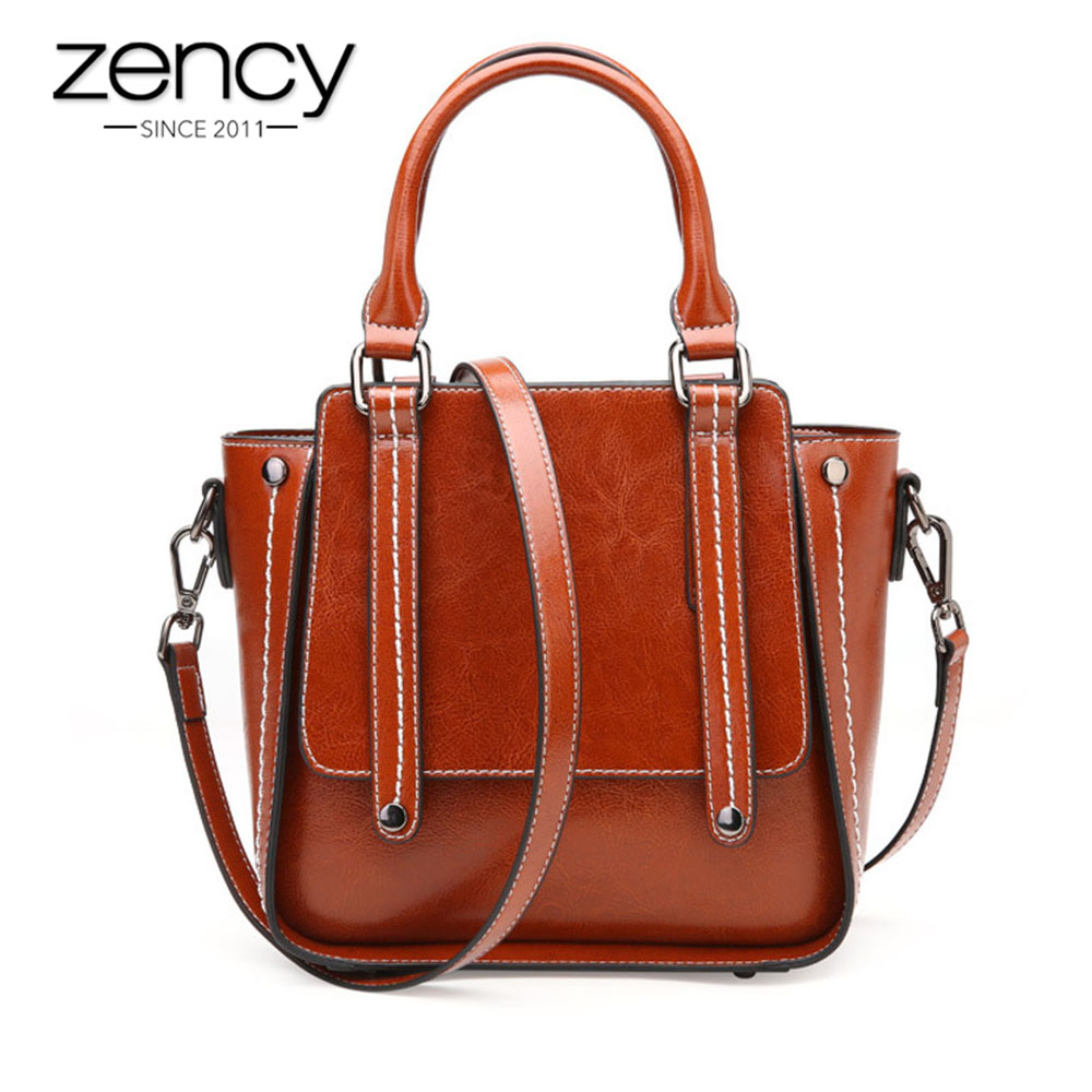 Zency 100 Genuine Leather Handbag Fashion Women Shoulder Bag Brown Casual Tote Bags High Quality Lady