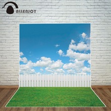 Allenjoy sky photography backdrop  grass spring cloud fence for photo studio Background photocall photobooth new