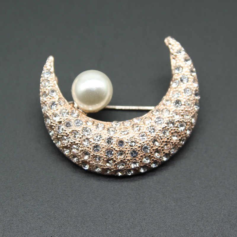Cltohes RHao Unisex Kristal Bulan Bros mutiara korsase aksesoris untuk Wanita Pria jas kerah pin perhiasan topi klip hadiah