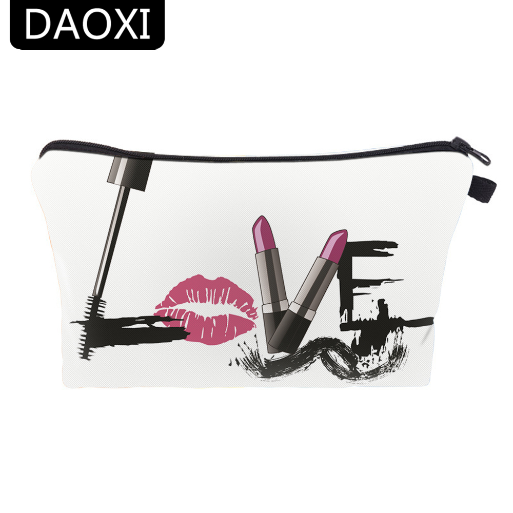 DAOXI Ladies Pouch 3D Printing Makeup Bags Women Cute Cosmetics Pouchs For Traveling Necessaries free shipping 10pcs ds1283s
