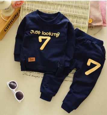Vestuário infantil 2019 Primavera Outono Manga Longa Kits para o Bebê Meninos Com Capuz + pant 2 pçs/set Carta de Algodão Do Bebê roupas QHQ044