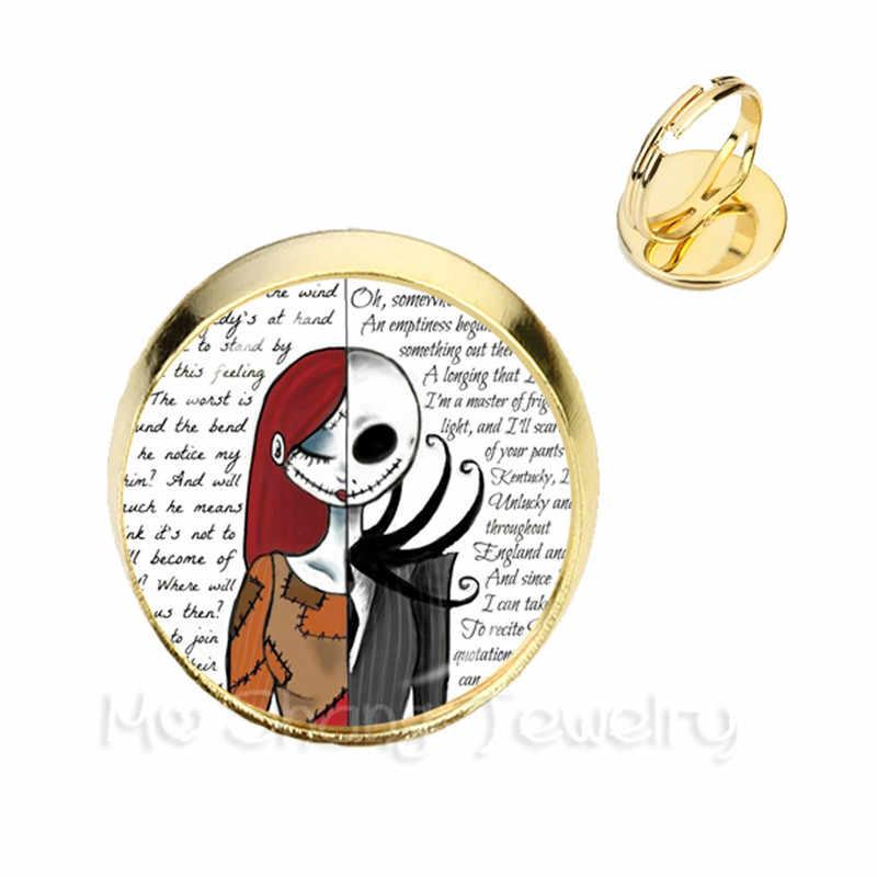Anillos de amor Jack Skellington y Sally foto de arte anillos redondos de encanto pesadilla antes de Navidad regalo de fiesta, joyería