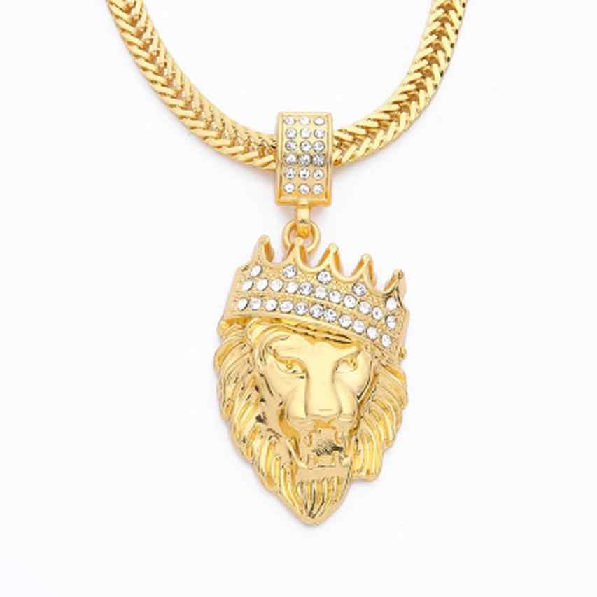 חדש סגנון Mens שרשרת מלא אייס מתוך ריינסטון האריה תליון קובני שרשרת מומנט היפ הופ שרשראות קולר תכשיטים # ZA