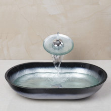 Ręcznie malowane mandarin szkło hartowane statku łazienka umywalka umywalka kran ustaw 4135-1 zestaw do kąpieli mosiądzu kran toalety, miksery i odprowadzające