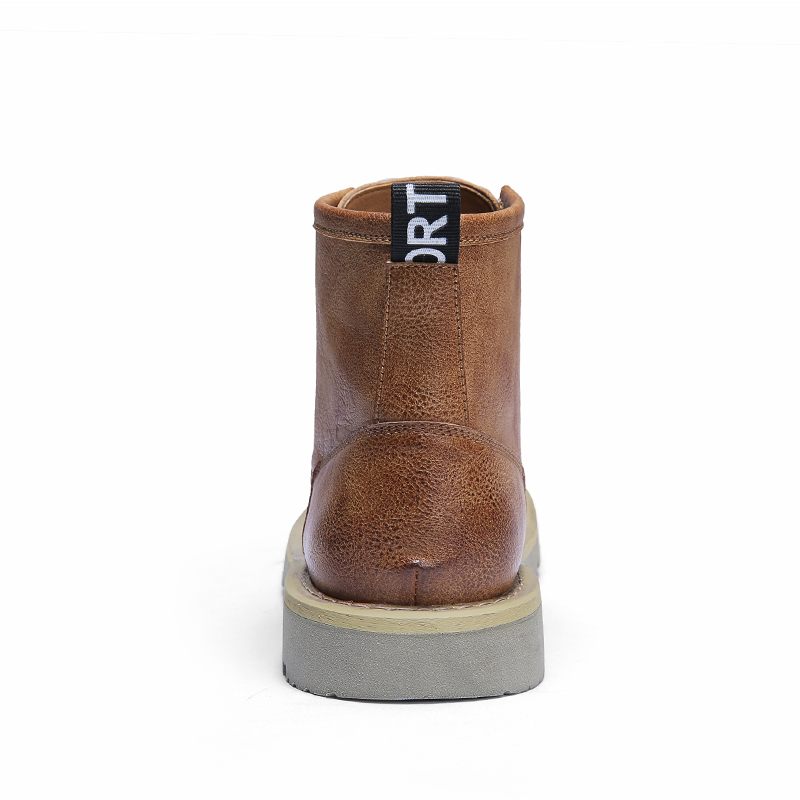 Véritable Travail Cheville Chaussures dark Mode De Noir Confortable En Top Cuir High Hommes Bottes Homme Automne Hiver Brown Brown Baidly yellow qXOTpX
