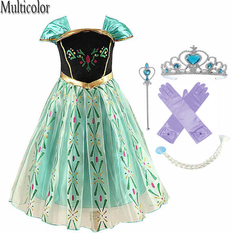 Multicolor kids dresses for girls long sleeve girls Party Dress Anna Elsa Cosplay Costume Kid's Party Dress Kids Girls Clothes