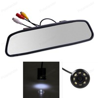 4.3 Inch Rearview Mirror Car Monitor TFT LCD display With 18mm 8 LED Night Vision Parking Rear View Camera