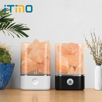 ITimo Warm Table Lamp Air Purifier Mood Creator Natural Himalayan Salt Lamp USB Crystal Light Colorful Lava Lamp