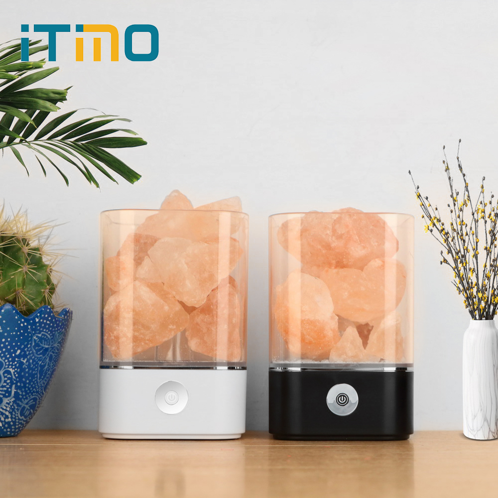 ITimo Warm Table Lamp Air Purifier Mood Creator Natural Himalayan Salt Lamp USB Crystal Light Colorful Lava Lamp