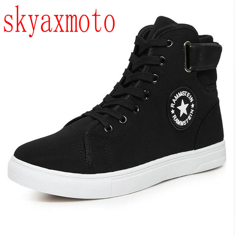 skyaxmoto Men Canvas Shoes Spring Autumn Top Fashion Lace-up High Style Solid Colors Flat With Youth Oxford Casual Shoes men shoes new autumn fashion men casual shoes lace up warm brand winter shoes mixed color high top flat with mens shoes