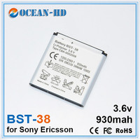 BST 38 930mah Lowest Price Rechargeable Mobile Phone Battery For Sony Ericsson W580 W580i W760 T650